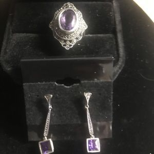 Jewelry - Vintage sterling silver ring and ring Amethyst